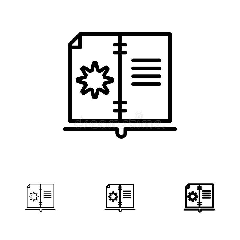 Βιβλίο, οδηγός, υλικό, τολμηρό και λεπτό μαύρο σύνολο εικονιδίων γραμμών οδηγίας διανυσματική απεικόνιση