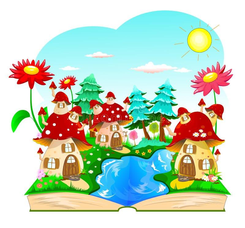 Βιβλίο, σπίτια μανιταριών, λουλούδια, τοπίο ελεύθερη απεικόνιση δικαιώματος