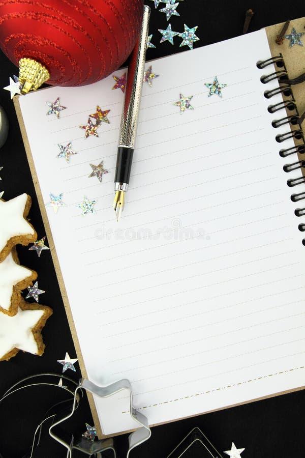 Βιβλίο συνταγής Χριστουγέννων Στοκ Φωτογραφία