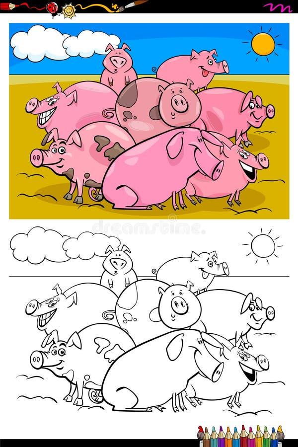 Βιβλίο χρώματος ομάδας χαρακτήρων ζώων αγροκτημάτων χοίρων διανυσματική απεικόνιση