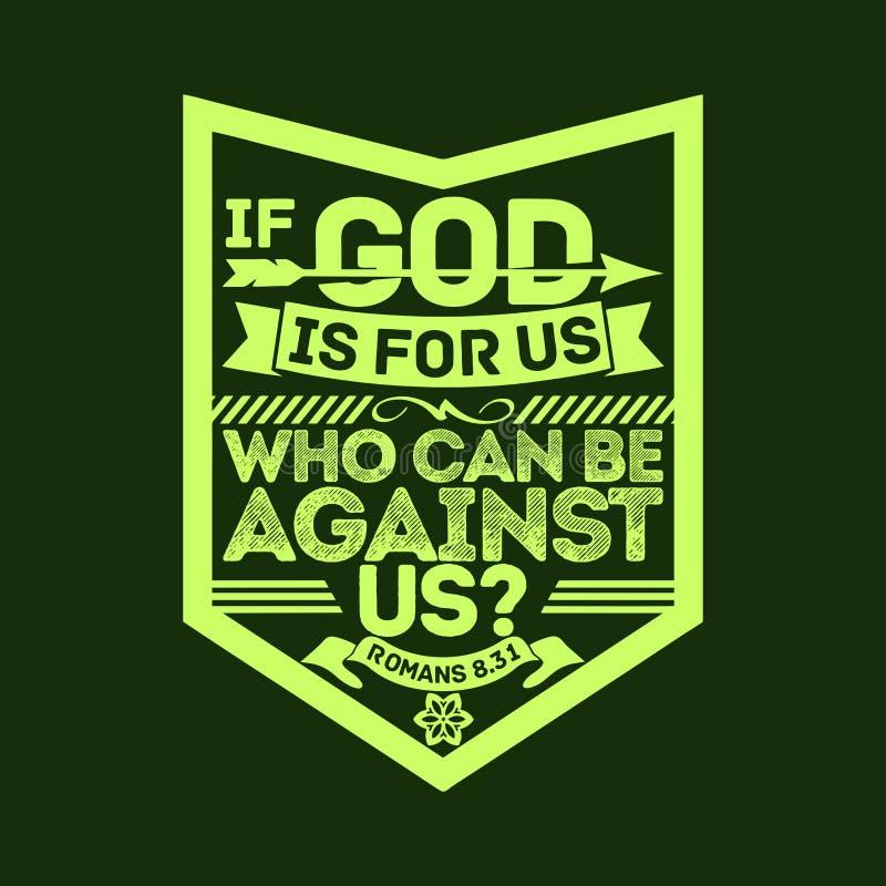 Βιβλική απεικόνιση Εάν ο Θεός είναι για μας, οι οποίοι μπορούν να είναι ενάντια σε μας διανυσματική απεικόνιση
