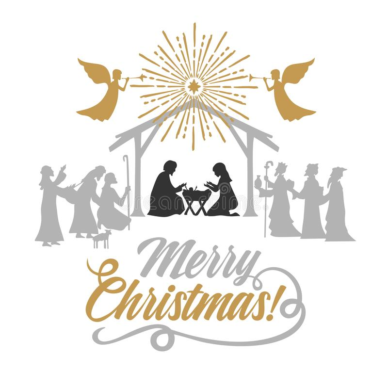 Βιβλική απεικόνιση Ιστορία Χριστουγέννων Mary και Joseph με το μωρό Ιησούς Σκηνή Nativity κοντά στην πόλη της Βηθλεέμ απεικόνιση αποθεμάτων