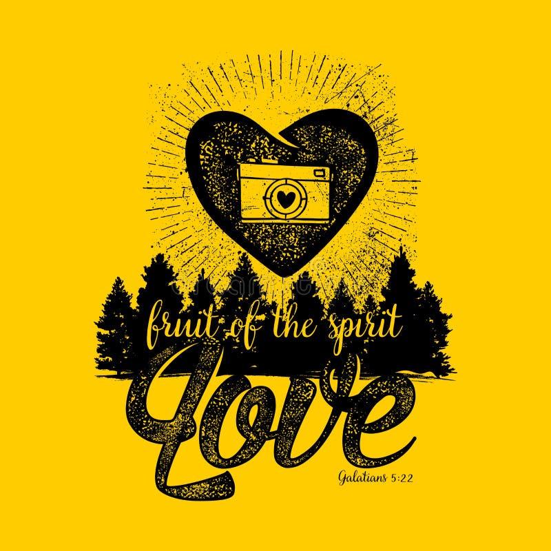 Βιβλική απεικόνιση Χριστιανική εγγραφή Φρούτα του πνεύματος - αγάπη Galatians 5:22 ελεύθερη απεικόνιση δικαιώματος