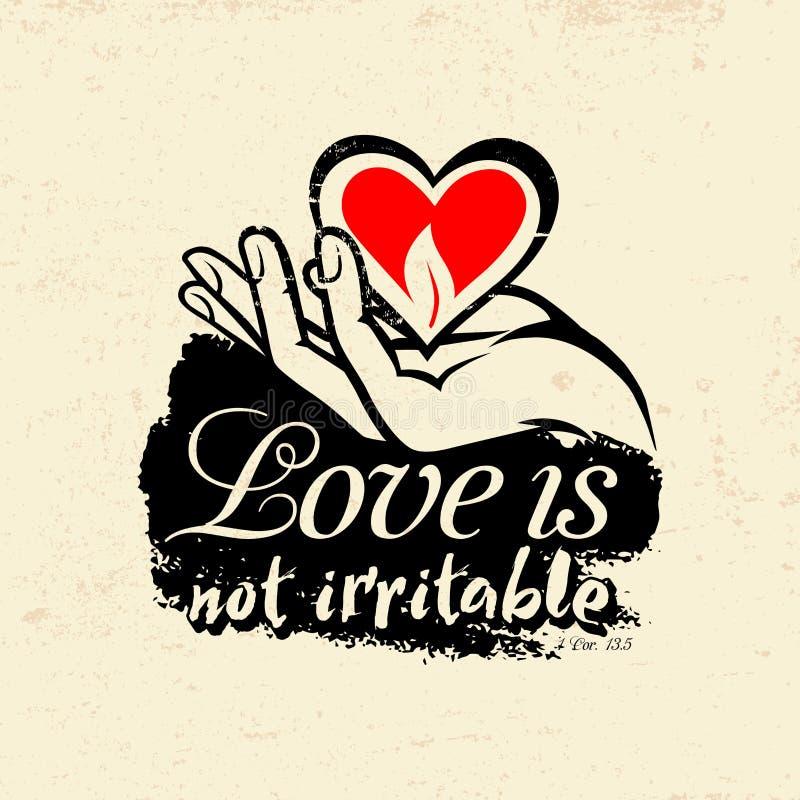 Βιβλική απεικόνιση Χριστιανός τυπογραφικός Η αγάπη δεν είναι οξύθυμη, 1 κορίνθιοι 13:5 απεικόνιση αποθεμάτων