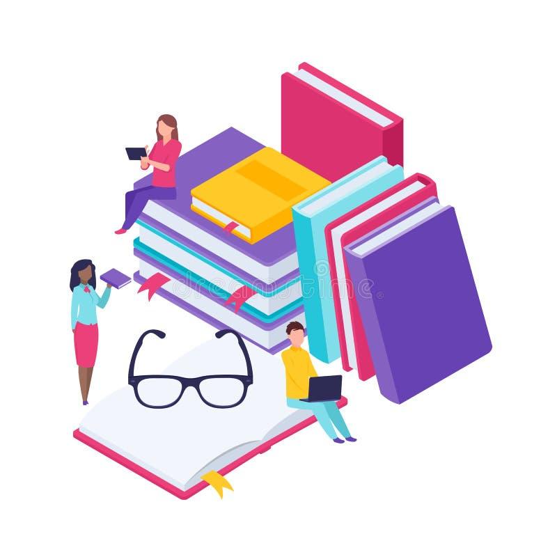 Βιβλιοθήκη λεξικών της εγκυκλοπαίδειας Έμβλημα έννοιας βιβλίων με τους χαρακτήρες Επίπεδη isometric διανυσματική απεικόνιση που α διανυσματική απεικόνιση