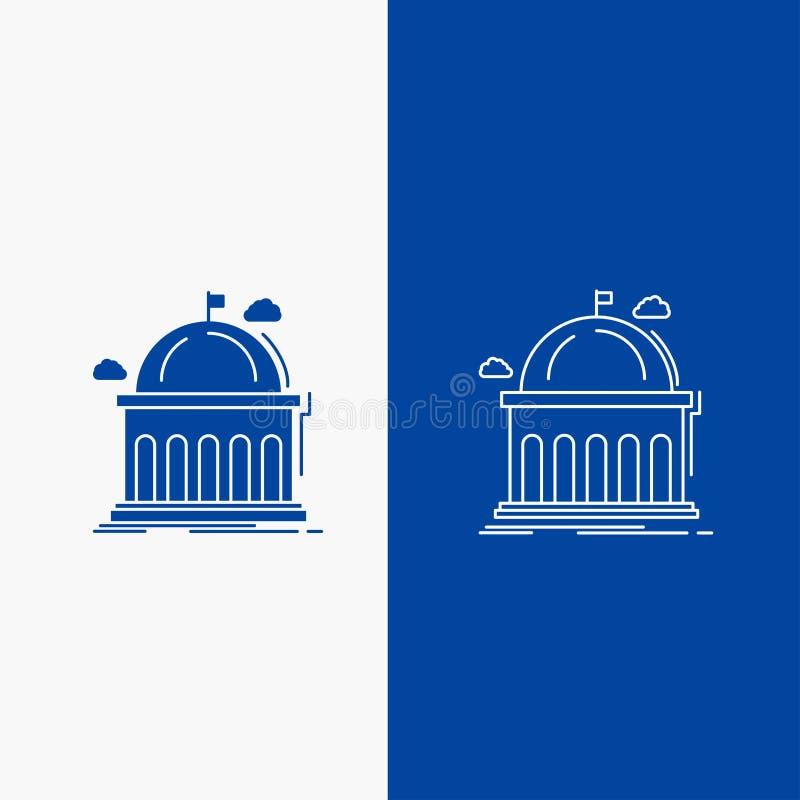 Βιβλιοθήκη, σχολείο, εκπαίδευση, μαθαίνοντας, πανεπιστημιακά γραμμή και κουμπί Ιστού Glyph στο μπλε κάθετο έμβλημα χρώματος για U απεικόνιση αποθεμάτων