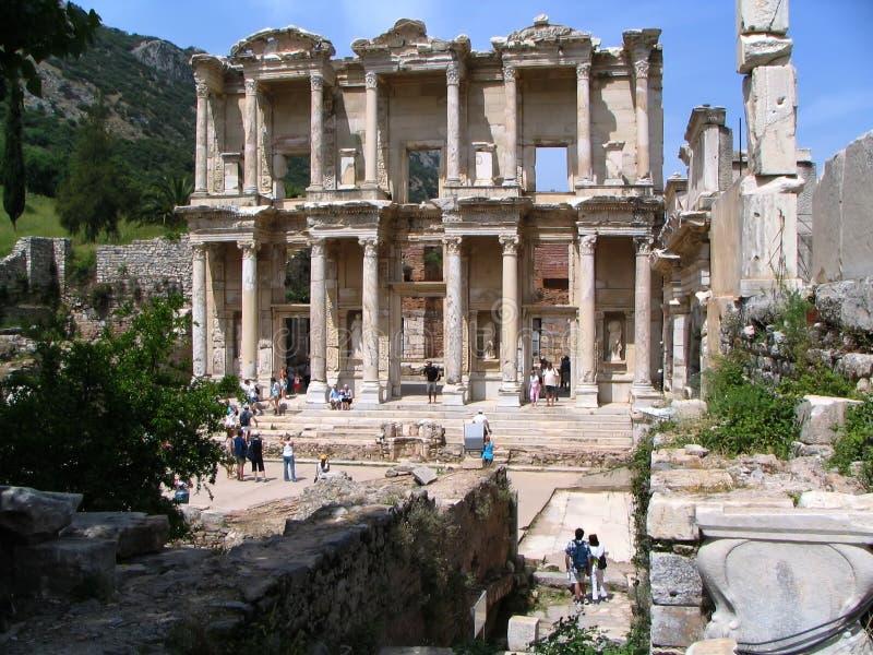 βιβλιοθήκη celsus στοκ εικόνα
