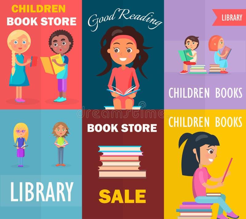 Βιβλιοπωλείο παιδιών, καλή ανάγνωση στη βιβλιοθήκη, πώληση ελεύθερη απεικόνιση δικαιώματος