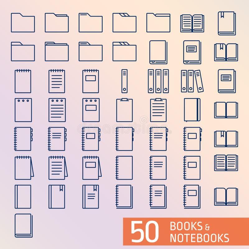 Βιβλία και τέλεια εικονίδια ouline εικονοκυττάρου σημειωματάριων στοκ φωτογραφίες με δικαίωμα ελεύθερης χρήσης
