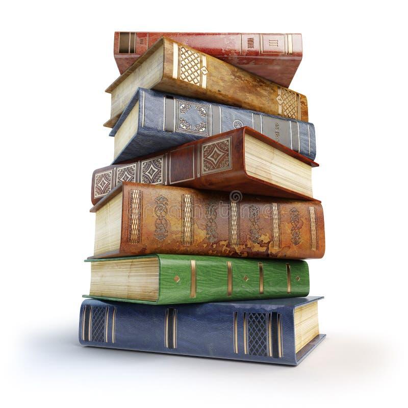 βιβλία παλαιά Σωρός των εκλεκτής ποιότητας βιβλίων στο λευκό απεικόνιση αποθεμάτων