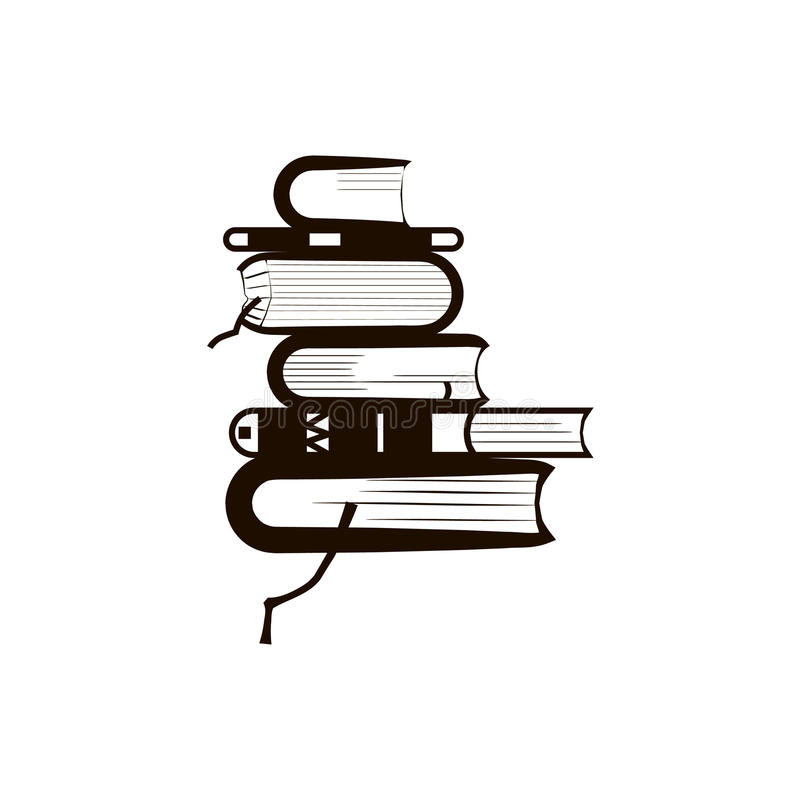 βιβλία που απομονώνονται πέρα από το λευκό στοιβών απεικόνιση αποθεμάτων