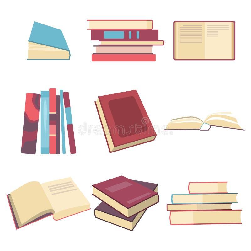 Βιβλία που τίθενται στο επίπεδο ύφος σχεδίου, διανυσματική απεικόνιση διανυσματική απεικόνιση