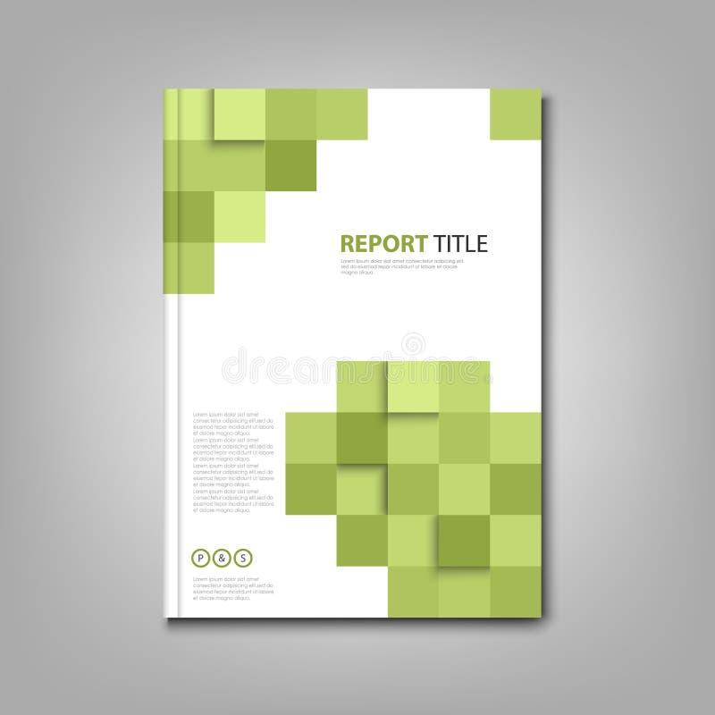 Βιβλίο ή ιπτάμενο φυλλάδιων με τα αφηρημένα πράσινα τετράγωνα ελεύθερη απεικόνιση δικαιώματος