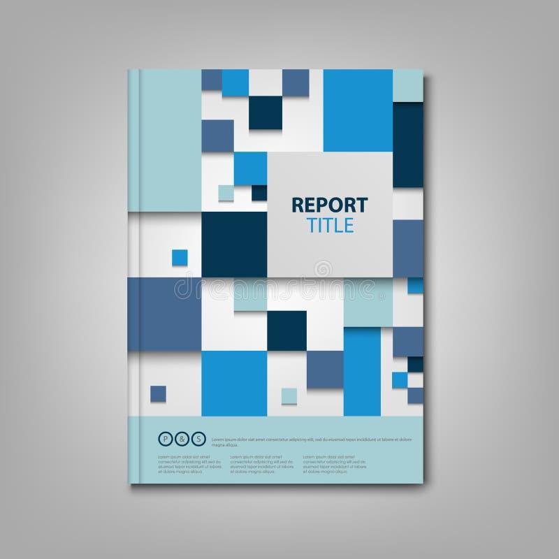 Βιβλίο ή ιπτάμενο φυλλάδιων με το μπλε αφηρημένο πρότυπο τετραγώνων απεικόνιση αποθεμάτων