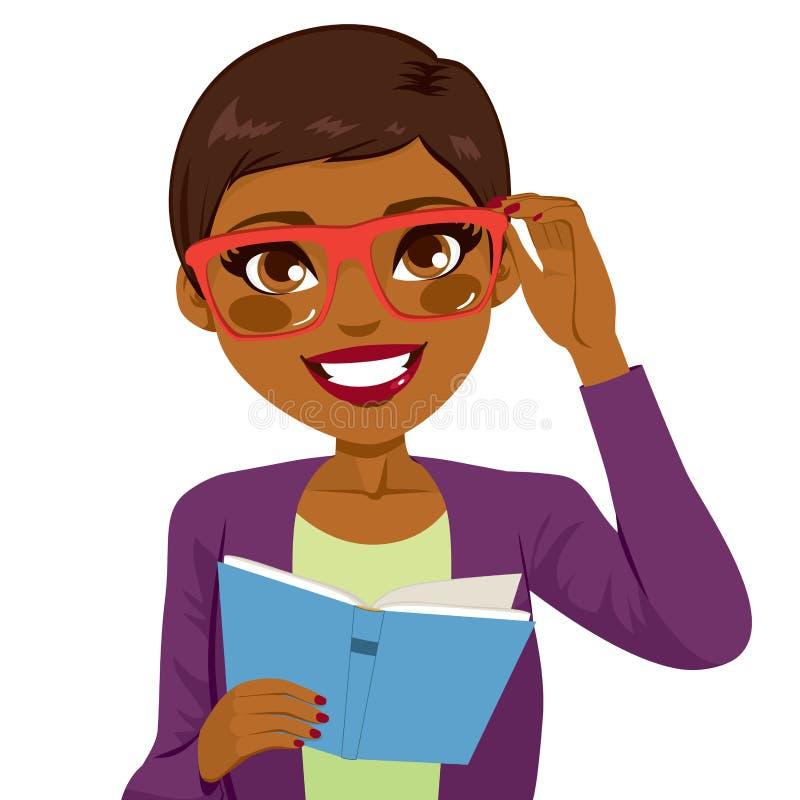 Βιβλίο ανάγνωσης κοριτσιών αφροαμερικάνων διανυσματική απεικόνιση