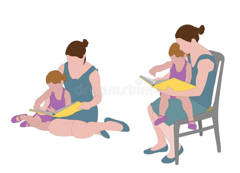 Βιβλίο ανάγνωσης μητέρων στο παιδί διανυσματική απεικόνιση