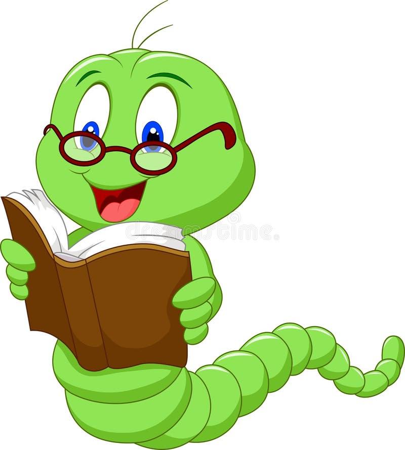 Βιβλίο ανάγνωσης σκουληκιών κινούμενων σχεδίων ελεύθερη απεικόνιση δικαιώματος