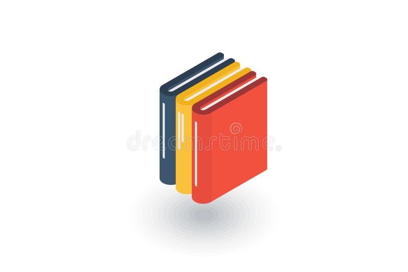 Βιβλίο εκπαίδευσης, βιβλιοθήκη, isometric επίπεδο εικονίδιο λογοτεχνίας τρισδιάστατο διάνυσμα απεικόνιση αποθεμάτων