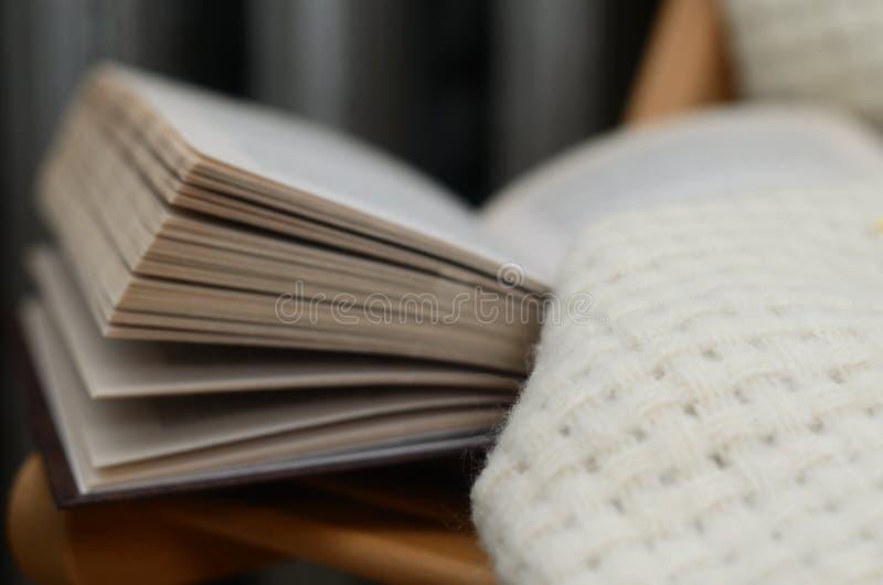 Βιβλίο και μάλλινο κάλυμμα στην καρέκλα στοκ εικόνα με δικαίωμα ελεύθερης χρήσης