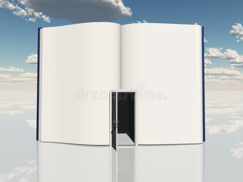 Βιβλίο με τη ανοιχτή πόρτα διανυσματική απεικόνιση
