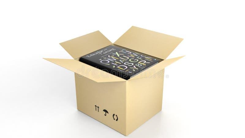 Βιβλίο στην εκπαίδευση και τη διδασκαλία με τη διευκρινισμένη κάλυψη μέσα σε ένα ανοικτό κουτί από χαρτόνι ελεύθερη απεικόνιση δικαιώματος