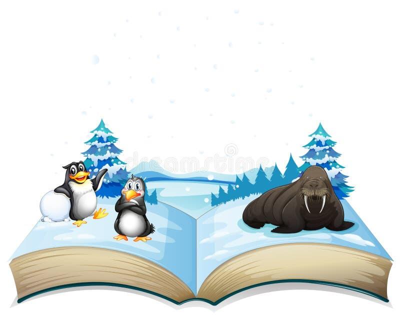 Βιβλίο του λιονταριού θάλασσας και penguins στον πάγο ελεύθερη απεικόνιση δικαιώματος