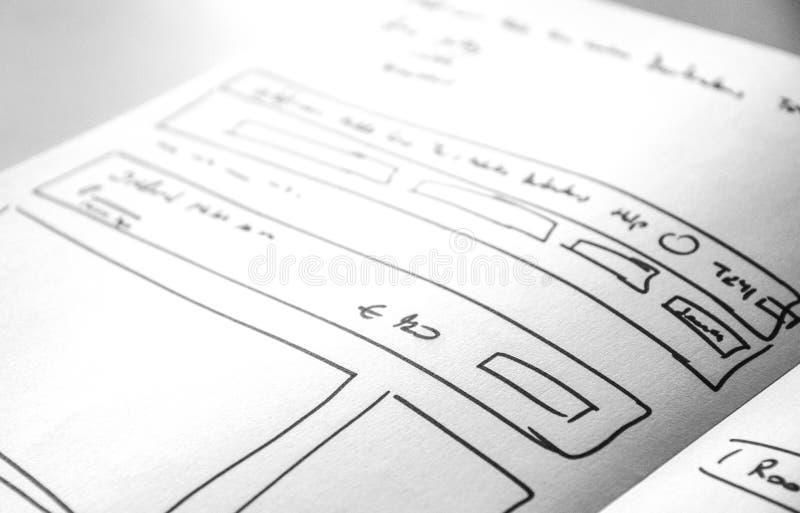 Βιβλίων εγγράφου σκίτσων σχεδιαγράμματος Ιστού κινητού και Ιστού σκίτσο, στοκ εικόνες