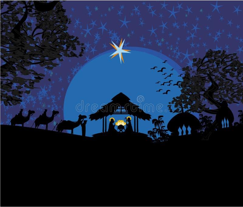 Βιβλική σκηνή - γέννηση του Ιησού στη Βηθλεέμ. διανυσματική απεικόνιση