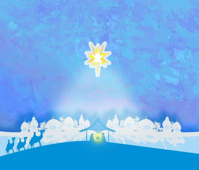 Βιβλική σκηνή - γέννηση του Ιησού στη Βηθλεέμ απεικόνιση αποθεμάτων