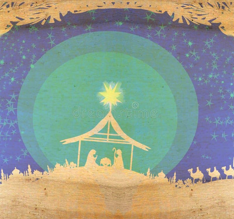 Βιβλική σκηνή - γέννηση του Ιησού στη Βηθλεέμ διανυσματική απεικόνιση