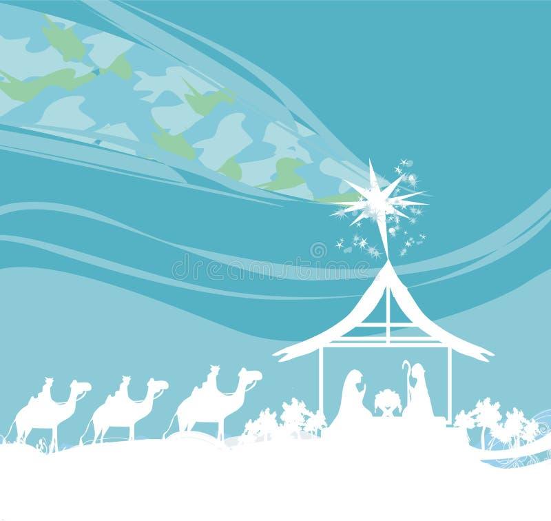 Βιβλική σκηνή - γέννηση του Ιησού στη Βηθλεέμ ελεύθερη απεικόνιση δικαιώματος