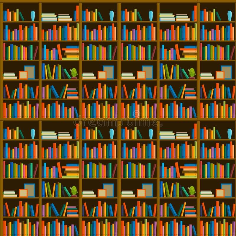 Βιβλιοθήκη, βιβλιοπωλείο - άνευ ραφής σχέδιο με τα βιβλία στα ράφια διανυσματική απεικόνιση