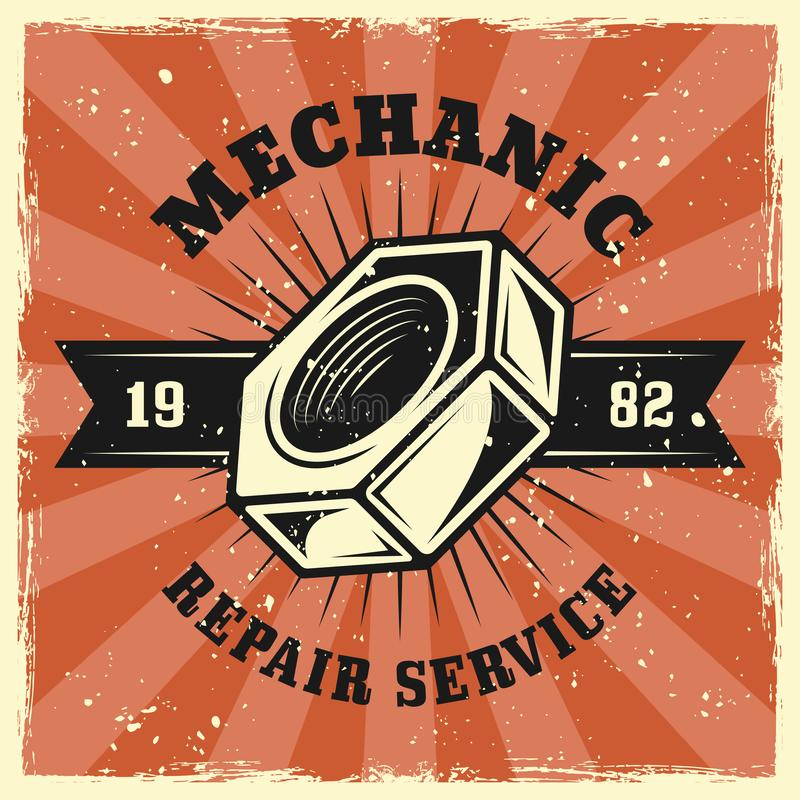 Βιδών διανυσματικό έμβλημα υπηρεσιών επισκευής καρυδιών μηχανικό διανυσματική απεικόνιση