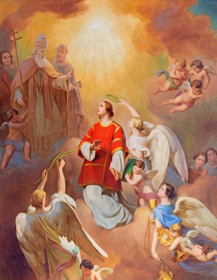 ΒΙΕΝΝΗ, ΑΥΣΤΡΙΑ - 19 ΔΕΚΕΜΒΡΊΟΥ 2016: Η ζωγραφική της αποθέωση του ST Laurence στην εκκλησία kirche ST Laurenz στοκ φωτογραφία με δικαίωμα ελεύθερης χρήσης