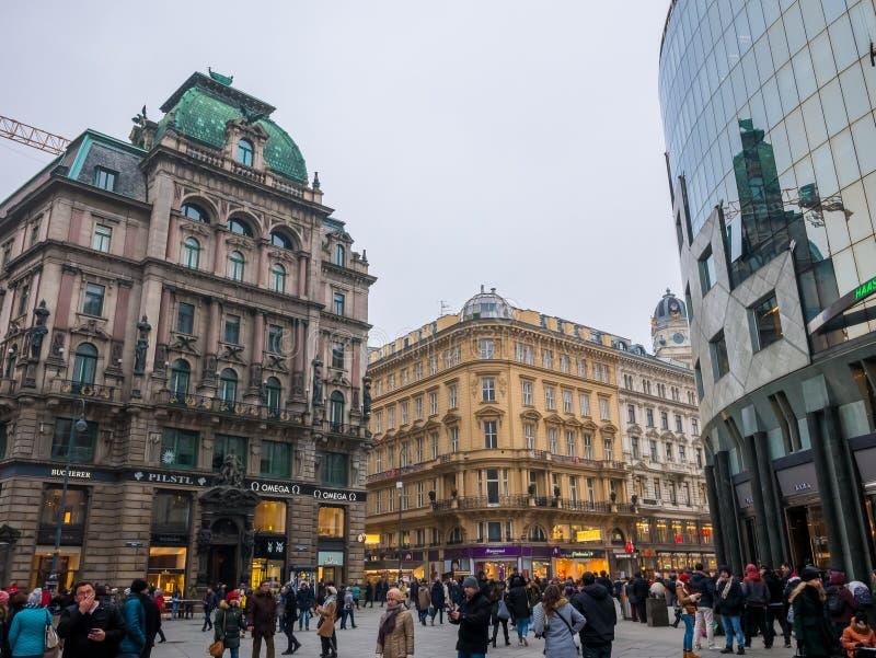 ΒΙΕΝΝΗ, ΑΥΣΤΡΙΑ 17 ΦΕΒΡΟΥΑΡΊΟΥ 2018: Απόψεις εικονικής παράστασης πόλης μια από την ομορφότερη πόλη της Ευρώπης ` s στοκ εικόνα
