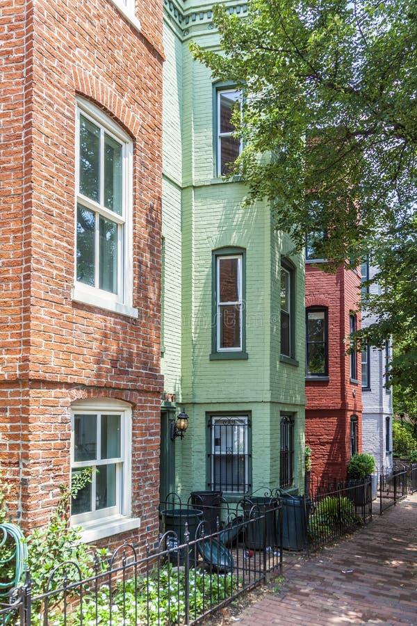 Βικτοριανά σπίτια στην Τζωρτζτάουν, ένα παλαιό μέρος της Ουάσιγκτον στοκ εικόνες