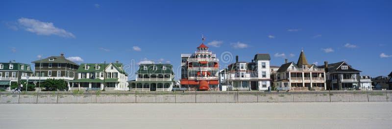 Βικτοριανά σπίτια το στις ακρωτήριο Μαΐου, παραλία NJ στοκ φωτογραφίες