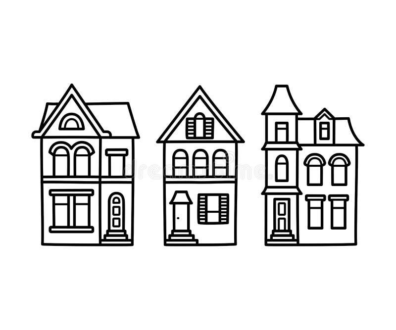 Βικτοριανή απεικόνιση σπιτιών απεικόνιση αποθεμάτων