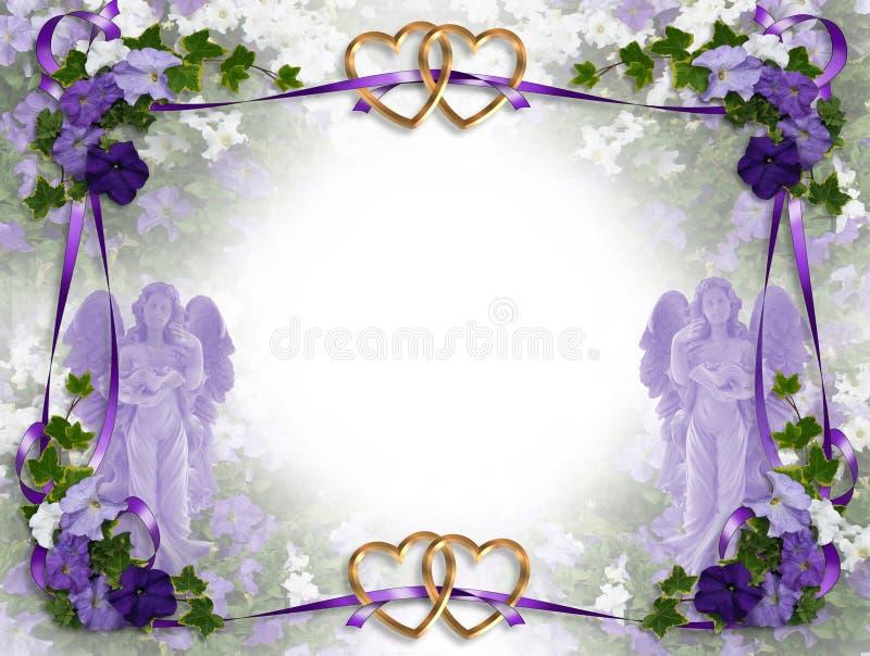 βικτοριανός γάμος πρόσκλησης αγγέλων διανυσματική απεικόνιση
