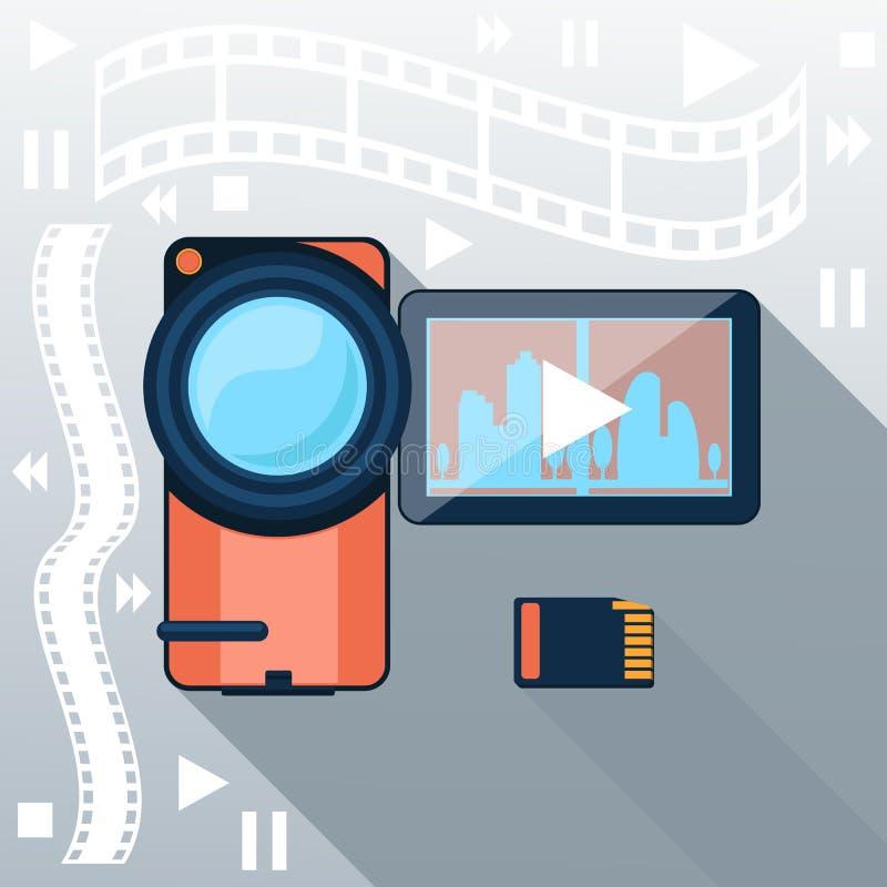 Βιντεοκάμερα με την ταινία κινηματογράφων στο υπόβαθρο διανυσματική απεικόνιση