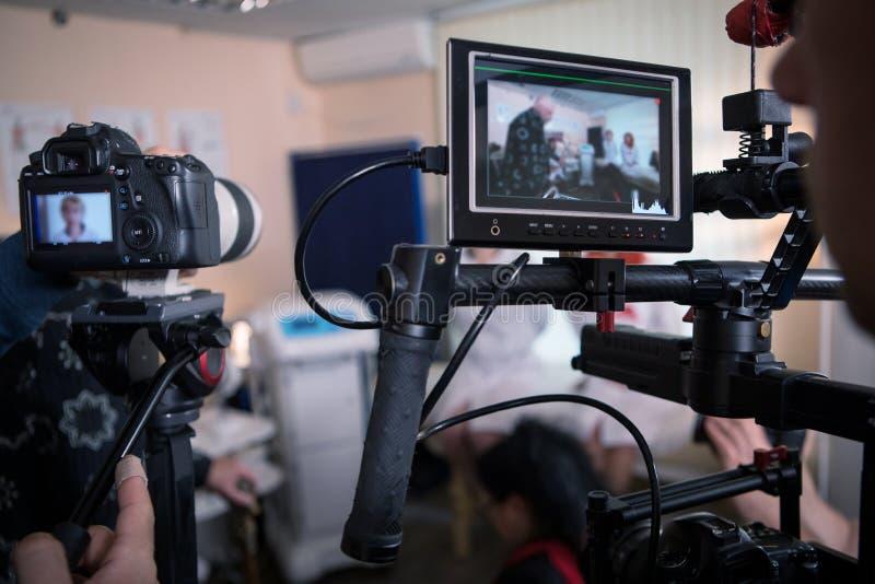 Βιντεοκάμερα στο σύνολο, σκηνές κινηματογράφων παρασκηνίων στοκ εικόνες με δικαίωμα ελεύθερης χρήσης