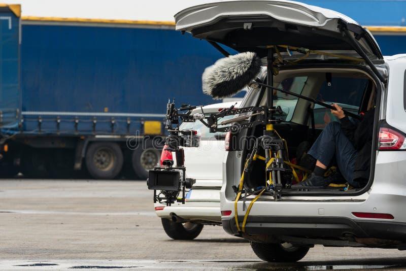 Βιντεοσκοπήσεις από κινούμενο αυτοκίνητο στοκ εικόνες με δικαίωμα ελεύθερης χρήσης