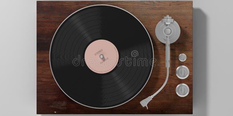 Βινυλίου πικάπ LP που απομονώνεται στο γκρίζο υπόβαθρο, τοπ άποψη τρισδιάστατη απεικόνιση ελεύθερη απεικόνιση δικαιώματος