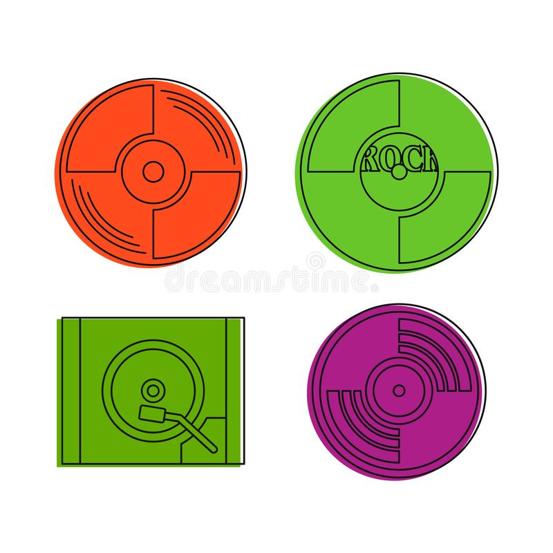 Βινυλίου σύνολο εικονιδίων δίσκων, ύφος περιλήψεων χρώματος απεικόνιση αποθεμάτων