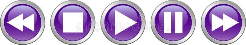 Βιολέτα κουμπιών μικρής διακοπής στάσεων παιχνιδιού απεικόνιση αποθεμάτων