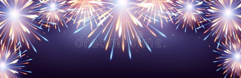 Βιολέτα υποβάθρου πλαισίων εκρήξεων πυροτεχνημάτων στη ευχετήρια κάρτα στο κενό καλής χρονιάς ελεύθερη απεικόνιση δικαιώματος