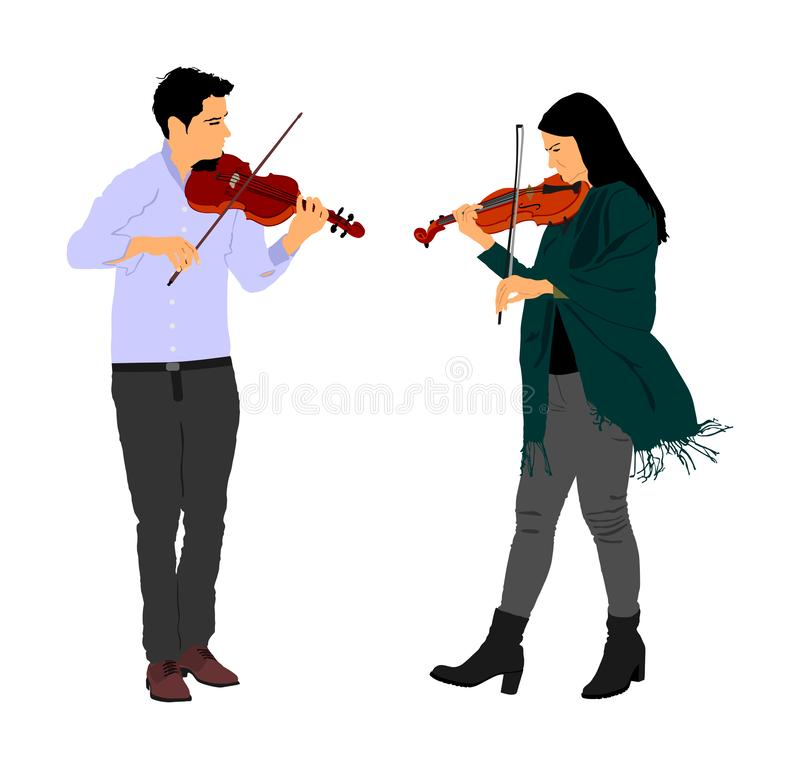 Βιολί παιχνιδιού νεαρών άνδρων και γυναικών στην απεικόνιση ντουέτου που απομονώνεται στο λευκό Κλασική συναυλία εκτελεστών μουσι διανυσματική απεικόνιση