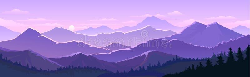 Βιολετί ουρανοί και τα τεράστια βουνά με δέντρα, δάση διανυσματική απεικόνιση