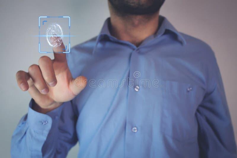 Βιομετρική έννοια προσδιορισμού με τα δακτυλικά αποτυπώματα στοκ εικόνα