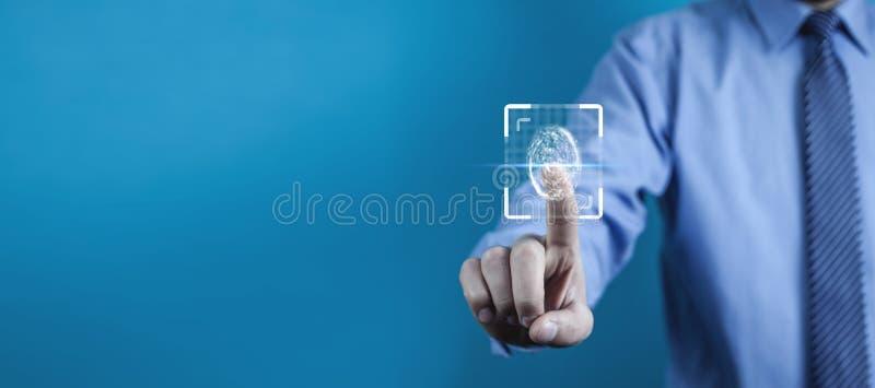 Βιομετρική έννοια προσδιορισμού με τα δακτυλικά αποτυπώματα στοκ φωτογραφία με δικαίωμα ελεύθερης χρήσης